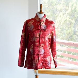 Vintage Chinese Mandarin Red Jacket Sz L EUC
